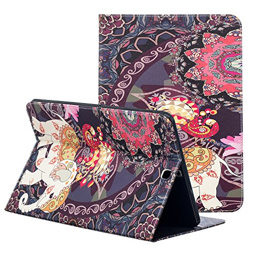 Samsung Galaxy Tab S2 sm-t813 Fall 9,7, zaox Slim Colorful Leder Ständer Tasche Case Card Slots Flip Folio Wallet Cover für Samsung Galaxy Tab S2 24,6 cm Tablet sm-t815/T810/T813, Elephant Flowers -