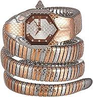 ساعة سنايك سيربنت دوبيو بتصميم ثعبان من جاست كافالي، مصنوعة من الستانلس ستيل JC1L168M0085 - كوارتز انالوج للنس