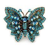 Großer Kristall-Schmetterlings-Ring, Blaugrün/Hellblau, Gold-Ton–Größe 7/8verstellbar