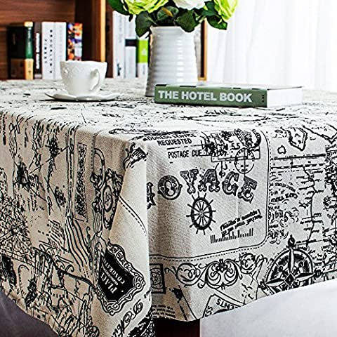 Table Cloth, InGoo Cotton Linen Fabric Elegant Classic Rectangular Table Covers, Durable Stain Resistant Tablecloths Tablecover for Decor Kitchen Dining Wedding Party Picnic Outdoor(60x84''/145x213cm, Map