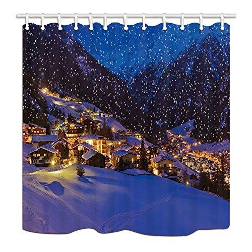 Weihnachtsdekor-Dorf mit Licht im Schnee für Weihnachten Mehltau-beständiges Polyester-Gewebe-Duschvorhänge Badezimmer-Duschvorhang-Set mit Ringen, 70.8X70.8in (Dorf Weihnachten Freundliches)