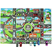 Eillybird Educational Toys, Cars Parking Map Mat 32.68 22.83 inches, Kids Toy City Road Buildings Landmark Scene Game English Version City Parking Map