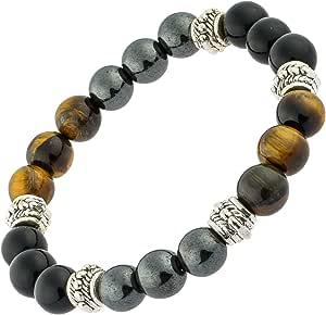 Bracelet triple protection puissant oeil de tigre, obsidienne, hématite, homme, femme, pierres naturelles, contre mauvais oeil, lithothérapie cadeau…