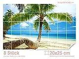 Graz Design 761213_20x25_60 Fliesenaufkleber Palmen/Strand für Kacheln | Bad-Fliesen mit Fliesenbildern überkleben (Fliesenmaß: 20x25cm (BxH)//Bild: 90x60cm (BxH))