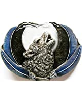 Buckle wolf at full moon, blue - Buckle