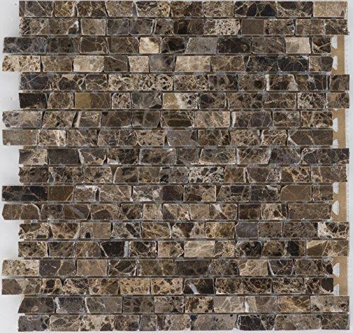 Brick-mosaik-fliesen-böden (Natursteinmosaik Fliesen braun brick Wand Boden Dusche WC Küche | 10 Matten | Art: es-53353_f)