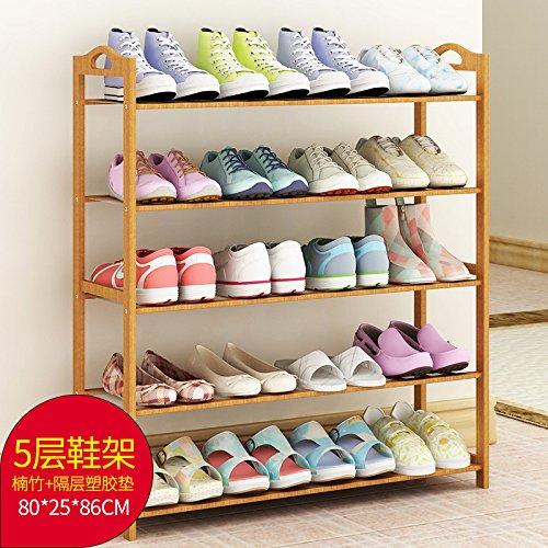 LILYJ-Shoe Cabinet Massivholz einfachen Haushalt Schuhputzmaschine Schuhputzmaschine tuch Schicht, 5 Schichten von Bambus (80 cm Breite)