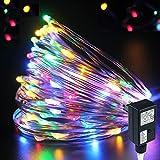 PMS 100 LEDs 10m Kupfer Lichterkette Kupferdraht 8 Modus LED Sternenlicht sternenklar Weihnachtslichterkette für Außen und Innen, Weihnachtenne Terrasse, Hochzeit, Party, Garten Dekoration (Bunt)