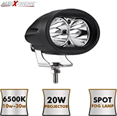 AllExtreme 4Inch Oval CREE LED Work Light Spot LED Projector Auxiliary Light Waterproof Flood Light with 4D Projector Lens For Cars, Bikes, Off Road Driving, Truck, Boat (20W, White, Pack of 1)
