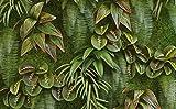 Yosot Benutzerdefinierte Pflanze Grünes Gras Blatt 3D Tapete Mural Büro Wohnzimmer Wandbild 3D Tapete -400cmx280cm