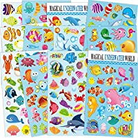 Sinceroduct Sea World Stickers for Kids 12 Sheets with Angelfish, Sharks, Starfish, Sharks, Hippocampus, Octopus and more!Reusable reward Stickers