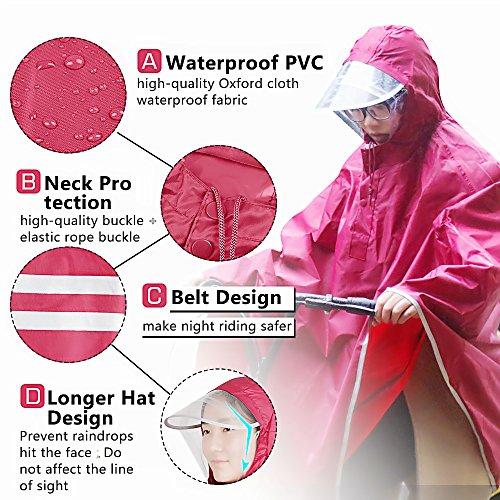 Tourwin Regenponcho für Camping Fahrrad Regenmantel Regenschutz mit Kapuze rot - rot
