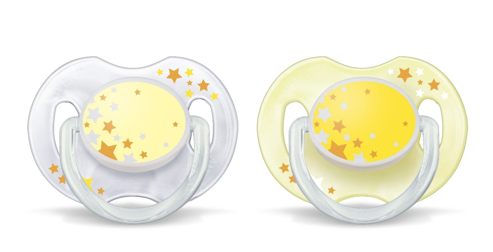 Philips AVENT SCF176/18 Glow in the Dark Night-Time Soother 0-6 Months (Colours May Vary), 2 Soothers 2