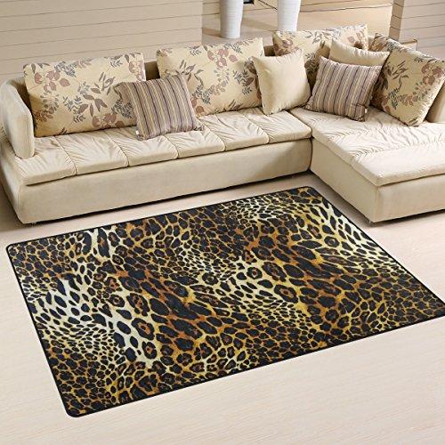 coosun piel de leopardo Antecedentes Área Alfombra Alfombra Alfombra de suelo antideslizante Doormats para salón o dormitorio, 31x 20cm, tela, multicolor, 60 x 39 inch