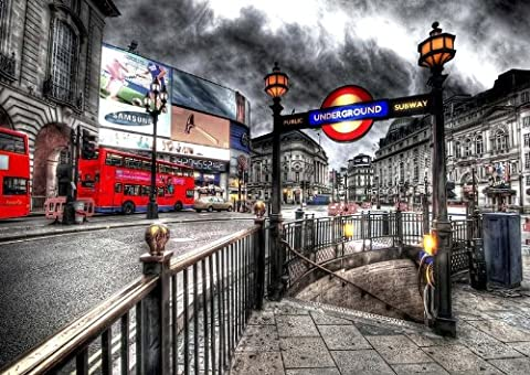 London Piccadilly Circus Psychedelic Horizontal 6 x 4 Inches Postcard Size Block Mounted Print