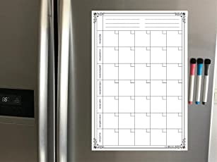 LifeKrafts Magnetic Dry Erase Monthly Message Board on Fridges/Almirah/Refrigerator with 3 Pens, 17x11-inches (White and Black)