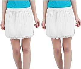 Skirt Slip - Set of 2PC (White+White, Medium)