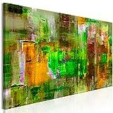 decomonkey | Bilder Abstrakt 120x40 cm | 1 Teilig | Leinwandbilder | Bild auf Leinwand | Vlies | Wandbild | Kunstdruck | Wanddeko | Wand | Wohnzimmer | Wanddekoration | Deko | Bunt grün Gelb