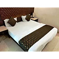 MKS INDIA Brocade Bed Runner with 2 nos. Cushion Covers (Standard , Black and Gold)