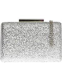 6e231f6dd8 Girly HandBags Small Luxury Womens Sparkly Hard Case Glitter Clasp Clutch  Bag
