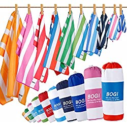 BOGI Microfiber Sports&Travel Towel-Pack of 2-L:160x80cm withHand/Face Towel for Travel Bath Beach Swim Camping Gym Yoga,Dry Fast Absorbent Soft Lightweight-Pouch+Carabiner(L:S Blue)