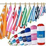 BOGI Mikrofaser Sports & Travel Towel+Handtuch-2 Pack-L:160x80cm-Schnell Trocken, leicht, saugfähig, weich – Perfekt für Yoga Fitness Saunatücher Camping+Reisetasche & Karabiner(L: Green & Blau)