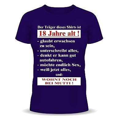 Coole Sprüche Zum 18 Geburtstag Lustige Sprüche Tshirt Der Träger Dieses T  Shirts Ist 18