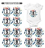 Monthly Baby Stickers by Months In Motion   12 Month Milestone Sticker for Newborn Babies Boy Sports Hockey (Style 1161)