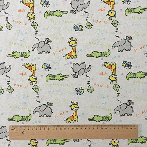 Tessuto, motivo: Giraffa, elefante, coccodrillo, colore: panna, 100% flanella di