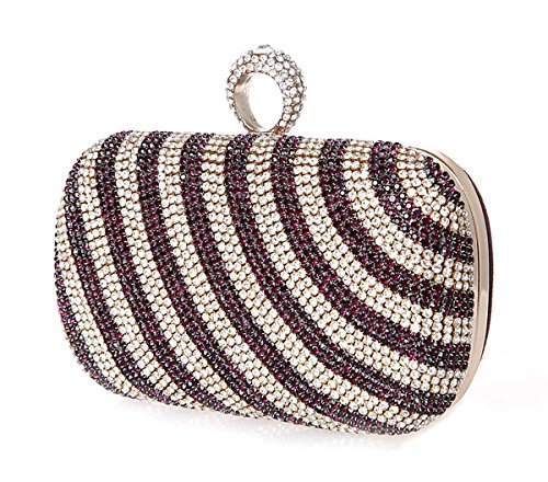 KAXIDY Luxus Damentasche Tasche Clutch Handtasche Abendtasche Brauttasche Geldbörsen Tasche mit Strass für Party Hochzeit Lila