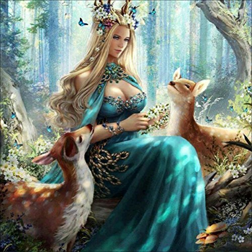 KAYI 5D Diamond Painting Fairy Maiden and Deers Full-drilled Rhinestone Hand Craft Painting Home Decor