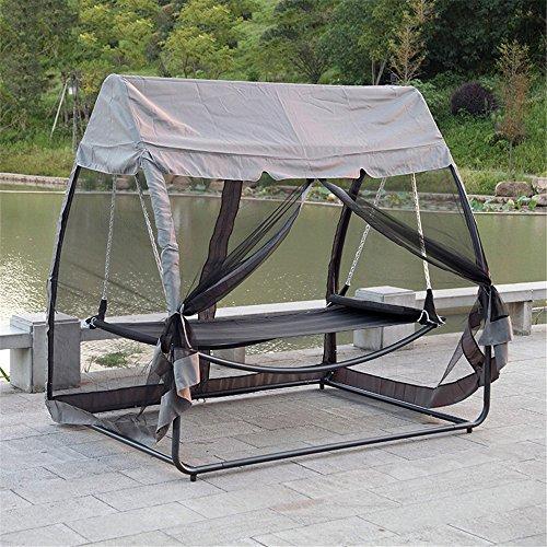 MONEYY Outdoor schaukeln Hängematten - Innenhof swing einzelne Schwingen anti - Moskitonetze 223*208 cm mit Sonnencreme