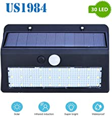 US1984 Solar Wireless Security Motion Sensor Night Light - 30 LEDs Bright and Waterproof for Outdoor/Garden Wall Bigger Solar Panel