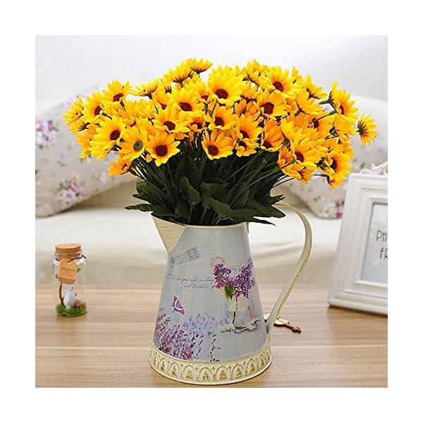 gzzebo 1 Bouquet 15 Cabezas 7 Ramas Seda Artificial Planta de Girasol Oficina en casa Decoración para Fiestas Accesorios…