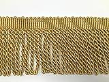 Fransenbordüre, 11cm breit, in Gold, Schwarz, Silber erhältlich, Meterware gold