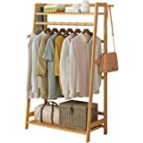 House of Quirk Bamboo Garment Coat Clothes Hanging Duty Rack with Top Shelf and Shoe Clothing Storage Organizer Shelves - (80