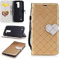 Para LG K7/K8 funda, (Amor oro) El amor golpeó el color de cuero de la PU Leather cubierta ,Función de Soporte Billetera con Tapa para Tarjetas correa de mano soporte para teléfono