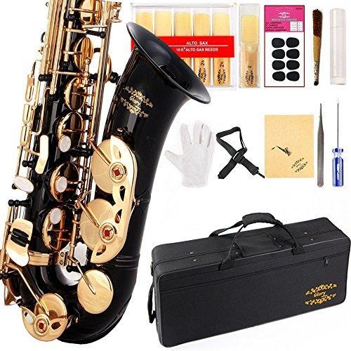 Glory E Flach Alto Saxophon mit 11reeds, 8Pads Kissen, Fall, carekit