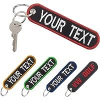 mvcen Portachiavi personalizzato, ricamo personalizzato del testo sul portachiavi, portachiavi bifacciale per auto da…