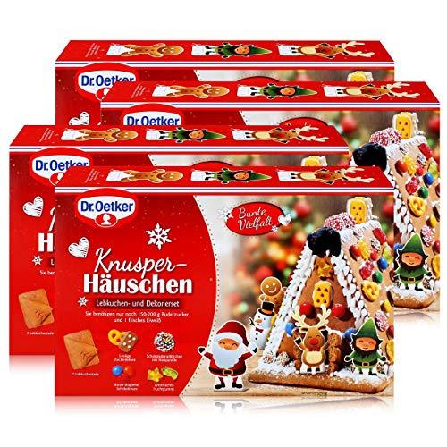Dr.Oetker-Knusper-Häuschen Lebkuchenhaus Advent Weihnachten 403g (4er Pack)