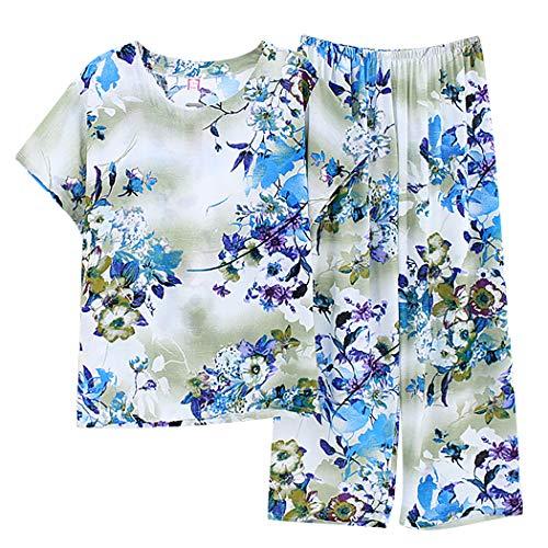 Aniwon 2PCS Womens Pyjama Set Floral Kurzarm Nacht Pyjama Sommer Top Mit Hosen -
