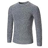 Xmiral Pullover Herren Mode Lässig Reine Farbe Langarm Oansatz Gestrickte Tops (XL,Grau)