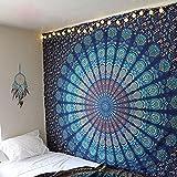 Tema de color azul doble tamaño mandala tapices de pared, diseño de pavo real, psicodélico indio tapiz de cama, Bohemia colgante de pared, estampado floral cama cubierta, Hippy tapiz por raajsee (5484)