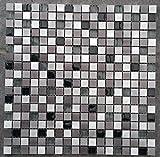 Edelstahl Aluminium Glasmosaik Matte Alu Schwarz/Silber Mosaik Fliesen Metall M705