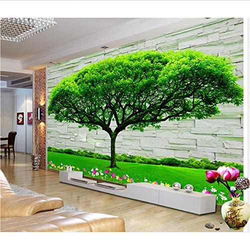 Moderne Mode Backstein Tapete 3d stereoskopische immergrüne Baumblume Tapeten für Wohnzimmer Natur Tapete-200x140cm
