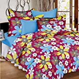Ahmedabad Cotton Comfort 160 TC Cotton Double Bedsheet with 2 Pillow Covers - Pink and Blue