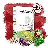 AYUNOVA Neurostress-Formel - bei Stress, Schlafstörungen und als Beruhigungsmittel | mit bewährten Pflanzen (u. a. Baldrian) und essentiellen Vitaminen (u. a. B12) und Mineralstoffen | 60 vegane Kapseln