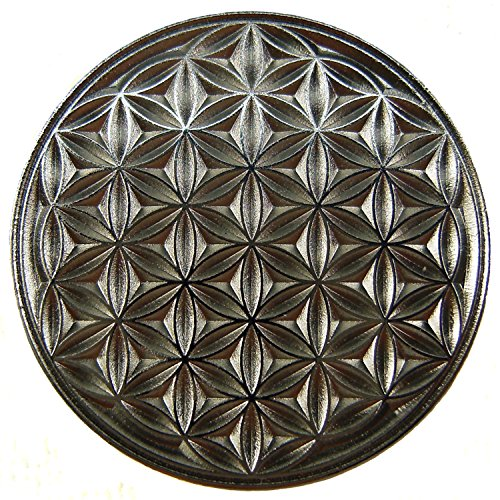 Preisvergleich Produktbild EnerChrom Blume des Lebens Auto-Glücksbringer Metall-Magnet-Plakette (Silber) 2,3 Zentimeter