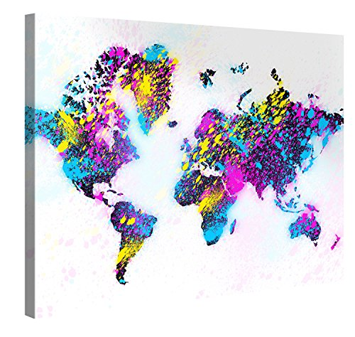 Premium Kunstdruck Wand-Bild – Colourful Worldmap – 100x75cm XXL Leinwand-Druck in deutscher Marken-Qualität – Leinwand-Bilder auf Holz-Keilrahmen als moderne Wohnzimmer-Deko …