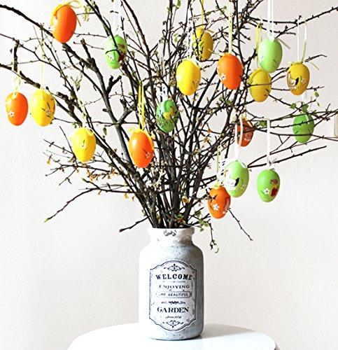 eier 6 cm Eier zum Hängen Osterhänger Ostern SET grün orange gelb mit Osterhase (Osterschmuck Zum Verkauf)